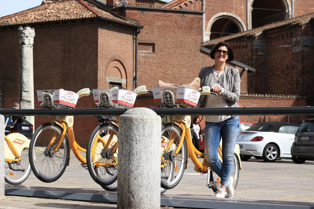 Radfahren in Mailand dank bikeMi